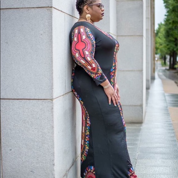 Ankle Length 3/4 Sleeve Plus Size Dashiki Dress Boutique